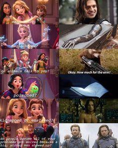 So bucky is a Disney Princess? Princess bucky of 'MURICA Marvel Avengers, Avengers Humor, Marvel Jokes, Funny Marvel Memes, Dc Memes, Marvel Dc Comics, Marvel Heroes, Funny Memes, Marvel Art