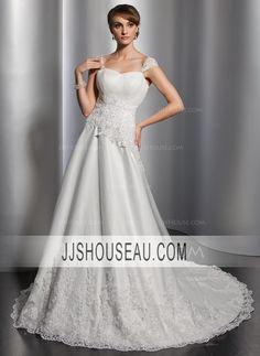 A-Line/Princess Chapel Train Sleeveless Sweetheart Cap Straps wedding dress