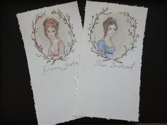 Sense and Sensibility original watercolor bookmarks. Elinor and Marianne Dashwood.