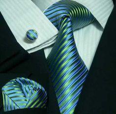 Peacock Blue and Green Stripe Wedding Tie Set | Toramon Necktie Company