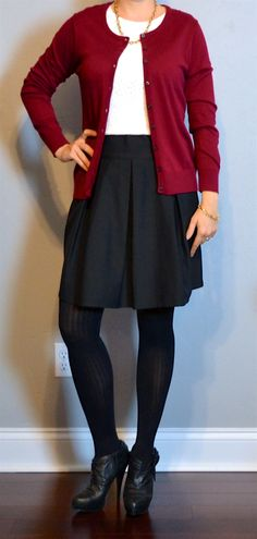 outfit post: burgundy cardigan, white lace shirt, black a-line skirt, black booties | Outfit Posts Dynamic