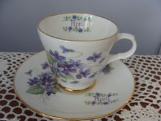 CROWN TRENT ENGLAND BONE CHINA TEA CUP AND SAUCER MONTH OF APRIL WITH VIOLETS #CROWNTRENT
