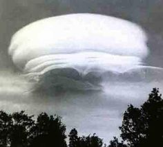 This lenticular cloud stayed motionless for four days over Shasta - Photo by Sister Thedra in the 1970's...