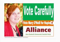 Mary O'Neill Alliance Party Candidate for Napier Electorate - NZ Parliamentary Election 2014 Election 2014, Democratic Socialist, Mary