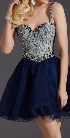 2016 Royal Blue Homecoming Dress,Short Spaghetti Strap Beaded Prom Dress, Sexy…