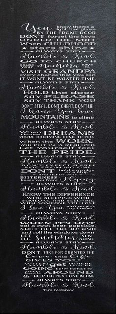 Always Stay Humble & Kind Lyrics Wood Sign or Canvas Wall Hanging (Tim McGraw song)