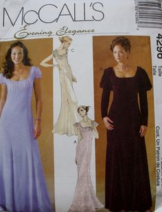 McCalls 4296 Regency Titanic Formal Dress Gown Sewing Pattern Size 8 10 12 14…