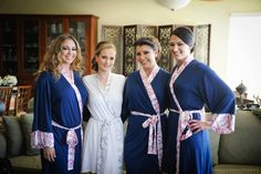 Doie Lounge Bridesmaid Robes: This bride chose navy and pink for her wedding colors. They got married in Florida!