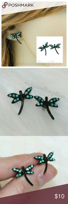 Studded Dragonfly Earrings New/Carded - Never Worn  Unique yet stylish, these earrings showcase 10 teal blue rhinestones that form the dragonfly wings.The black body gives good contrasting color & makes the earrings pop & give notice. Wear for any occasion.  Check my page for more items to bundle with! #oneinamillionjillian Jewelry Earrings