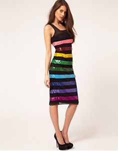 ASOS Midi Dress In Sequin Stripe....thought this was too cute! Too bad it's sold out.