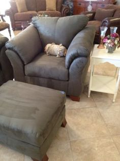 Grab a cup of hot tea and a good book and enjoy this comfy over sized comfy chair and coordinating ottoman. ~$538 Other pieces also available.    Yesterdays Treasures Consignment  5829 Lone Tree Way Suite J  Antioch  925 - 233 - 4547