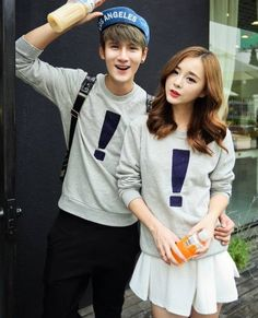 CC00280 Couples letters round neck Korean style T-shirt