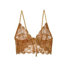 For Love & Lemons Gold Honeysuckle Bralette featuring polyvore, fashion, clothing, intimates, bras, tops, underwear, lingerie, bra, floral bra, transparent lingerie, gold bra, bralette bras and sheer lingerie
