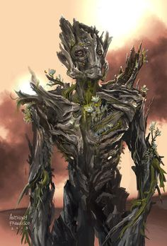 Here was my take on Groot. He was the first character that I was given on my first day on the job at Marvel Studios. Groot Concept art for Guardians of the Galaxy Character Concept, Character Art, Concept Art, Character Design, Character Ideas, Marvel Art, Marvel Heroes, Marvel Comics, Plant Monster
