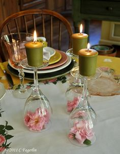 "Decorating your tables on a budget? I'm head over heels for this easy-as-pie ""DIY"" idea of wine glass votives! Turn the wine glass upside-down, pop a fresh flower underneath (or acorns/leaves for a fall wedding) & top Hay Wedding, Craft Wedding, Dream Wedding, Wedding Centerpieces, Wedding Decorations, Table Decorations, Glass Centerpieces, Decoration Evenementielle, Deco Table"