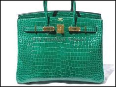 Quintessential Cocodrilo Verde Esmeralda 35 cm Hermes Birkin BOLSA/oro