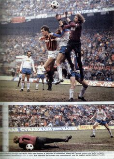 AC Milan 0 Catania 0 in Feb 1983 at the San Siro. Action as Milan draw a blank in Serie B.