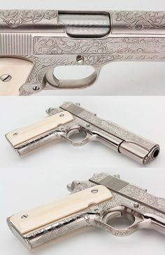 COLT 1911A1 GOVT CUSTOMIZED  ENGRAVED NICKEL IVORY GRIPS 45 ACP GORGEOUS PISTOL - Picture 3 Colt 1911, Custom Guns, Custom 1911 Pistol, Weapons Guns, Guns And Ammo, Engraved 1911, 45 Caliber Pistol, 45 Acp, Stuff And Thangs