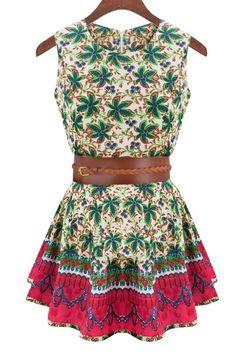 Sleeveless Floral Print Flare Dress