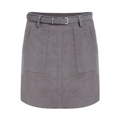 SheIn(sheinside) Grey Pockets Belt Skirt (223.450 IDR) ❤ liked on Polyvore featuring skirts, grey, short skirts, a line skirt, grey a line skirt, vintage skirts and short a line skirt