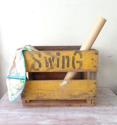 Vintage Swing Soft Drink Crate in bright yellow--WANT