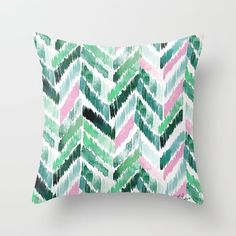 Tropical Vibrations - Emerald Pink Throw Pillow by Crystal Walen. Worldwide shipping available at Society6.com. Just one of millions of high quality products available.