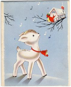 1930s, perhaps early 40s. Li'l white reindeer with a red Christmas bell & Mr Robin in his birdhouse.