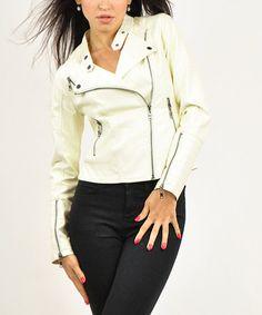 Ivory Faux Leather Moto Jacket #zulily #zulilyfinds