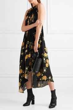 Magda Butrym - Bergen Asymmetric Ruffled Floral-print Silk Dress - Black - FR36