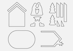 Gingerbread Nativity pattern and tutorial. Cookie Nativity Scene with Mary, Joseph and Baby Jesus in a stable Gingerbread House Template, Gingerbread House Designs, Gingerbread Decorations, Christmas Yard Decorations, Christmas Gingerbread House, Christmas Crafts For Kids, Christmas Candy, Christmas Cookies, Christmas Holidays