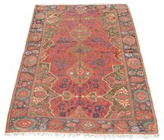http://rugrabbit.com/content/peter-pap-anatolian-rugs Ushak Carpet Fragment, Turkey, 17th C (2nd half)   Carpets ascribed to the western Anatolian town of Ushak  are perhaps the most iconic of classical Ottoman weavings and the most well known variant of these are the so-called  'medallion Ushaks', which employ a large format medallion center flanked by corner-pieces composed of quarters of a similar medallion. This piece is a fragment