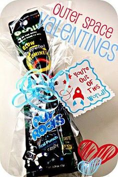 Space Valentine. I'm doing something similar with Milky Way bars, Starburst, Pop Rocks, and little rocket ship tags!