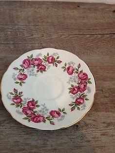 Royal Sutherland Bone China Tea Cup Saucer Roses Vintage Pink Gold Floral 2 Pair