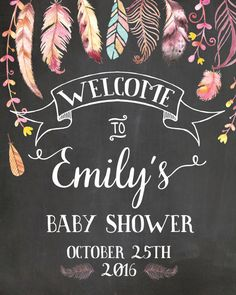 Welcome Baby Shower Sign. Chalkboard Welcome sign. Boho by Pipetua