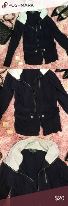 RALPH LAUREN Active Dark Cotton Sweatshirt M RALPH LAUREN Active Dark Blue/Black Cotton Sweatshirt Size M/M. Zips up. Has somewhat of a vintage fade. cleaned prior to sale - clean, smoke free home. Beautiful and comfortable. Clip pockets and a zip pocket. Ralph Lauren Sweaters
