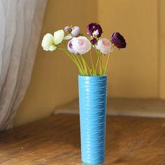 Adeco Decorative 13-inch Green Slim Neck Wood Vase