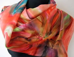 Multicolored hand painted scarf. Floral silk by TiiuHandCraft
