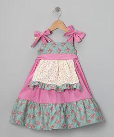 Pink Floral Apron Dress - Toddler & Girls