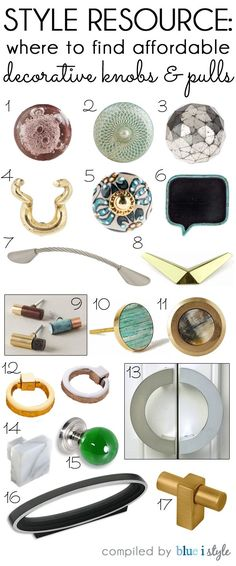 Merveilleux STYLE RESOURCE: Where To Find Affordable Decorative Knobs And Pulls.  Updating The Hardware On