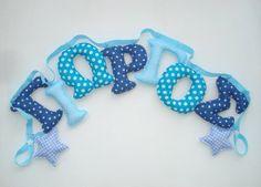 Boys room name banner, Fabric letter name banner - AQUA,LIGHT& DARK Blue color pattern,Boy Name Wall Art