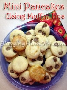 mini pancakes using muffin tins! Quick, easy and customize for each family member! #recipes #muffintins
