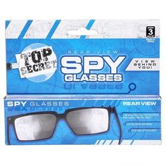 ead951ba5c9 Spy Sunglasses Glasses See Look Behind You Rear View Mirror Toy 007 Secret  Gag Spy Glasses