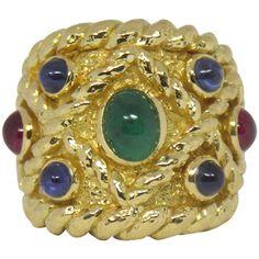 David Webb Emerald Ruby Sapphire Gold Band