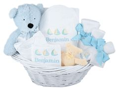"""""""Deluxe Baby Boy Layette""""   Embroidered Gift Basket  http://www.storkbabygiftbaskets.com/deluxe-personalized-baby-boy-layette-gift-basket.html  $174.95"""