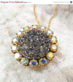 SALE Titanium druzy and AB crystals pendant by YaronaJewelryDesign, $75.65