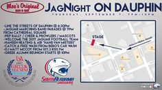 Join The University of South Alabama TONIGHT for a downtown parade from Cathedral Square to Moe's Original Bar B Que - Mobile Alabama to show your support for the team against Oklahoma State on Friday.  The party continues after the parade with a USA Greek Alumni Bar Crawl. Go Jags! #USA #SouthAlabama #college #football #GoJags #JagNation