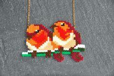 Oiseaux sur la branche collier perles à repasser by Truc