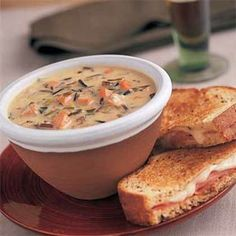 Creamy Wild-Rice & Smoked Turkey Soup (use leftover roasted turkey or chicken in place of smoked.  Add mushrooms, reduce amount of flour to 1/4 C or less depending on desired thickness)