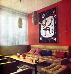 Joan Miró painting at the flat of czech musician Jiří Šlitr Joan Miro Paintings, Vintage Decor, Graphic Design, Boho, Brussels, Furnitures, Spaces, Flat, Colors