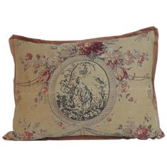 19th Century French Toile Linen Decorative Large Pillow | From a unique collection of antique and modern textiles at https://www.1stdibs.com/furniture/more-furniture-collectibles/textiles/